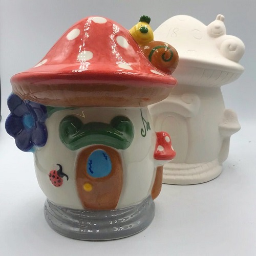 Take Out Kit Pottery Painting Toadstool Money Box