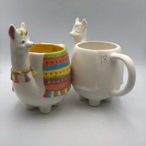 Pottery Painting Llama Mug