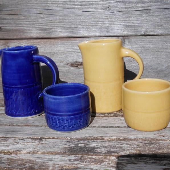 ceramic milk jugs and sugar bowls